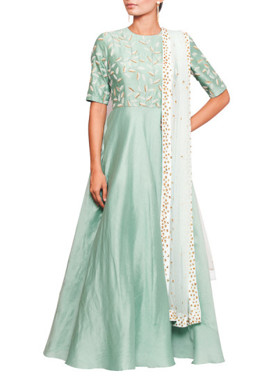 Indian Fashion Designers - Salt and Spring by Sonam Jain - Contemporary Indian Designer - Sea Green Anarkali With Dupatta - SAS-AW17-SU9001-D1005