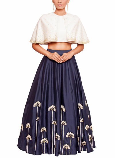 Indian Fashion Designers - Salt and Spring by Sonam Jain - Contemporary Indian Designer - Embroidered Blue Skirt and Blouse Set - SAS-AW17-T1001-SK1001