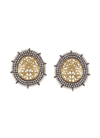 Indian Fashion Designers - Shillpa Purii - Contemporary Indian Designer - Carving Stud Earrings - SHP-SS17-SK-20