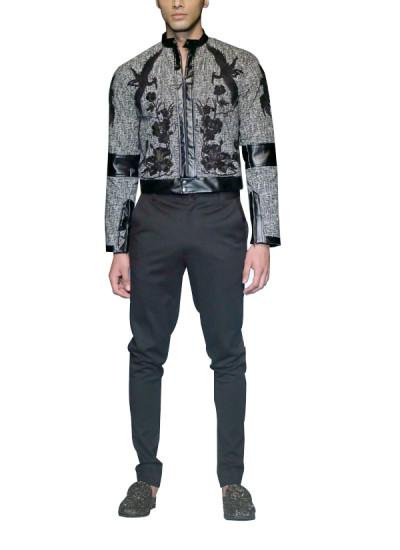Indian Fashion Designers - Siddartha Tytler - Contemporary Indian Designer - Bomber Patchwork Jacket Set - ST-AW17-JCKT-003-PNT-003