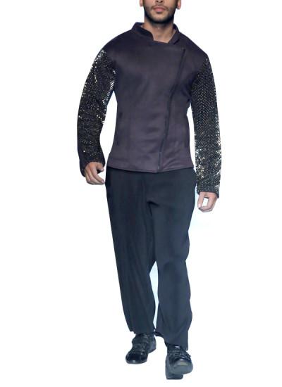 Indian Fashion Designers - Siddartha Tytler - Contemporary Indian Designer - 3D Metal Suede Neoprene Jacket Set - ST-AW17-JCKT-008-PNT-007