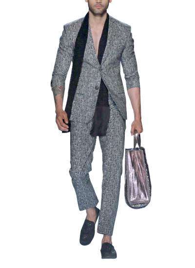 Indian Fashion Designers - Siddartha Tytler - Contemporary Indian Designer - Grey Textured Cotton Suit - ST-AW17-SUIT-003-AW17-SCRF-001