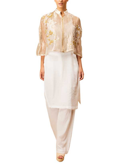 Indian Fashion Designers - Siddartha Tytler - Contemporary Indian Designer - Gold Tissue Cape Set - ST-AW16-MS16-CP-001