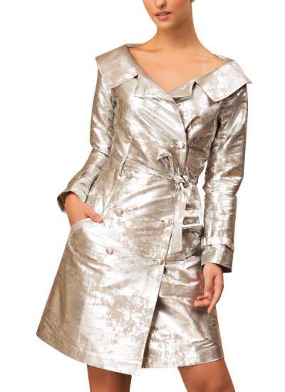 Indian Fashion Designers - Siddartha Tytler - Contemporary Indian Designer - Silver Foil Dress - ST-AW16-MS16-JCKT-005