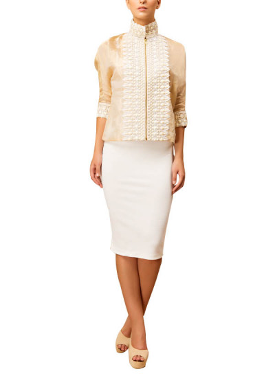 Indian Fashion Designers - Siddartha Tytler - Contemporary Indian Designer - Kimono Jacket Set - ST-AW16-MS16-JCKT-006-SKRT-006