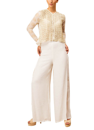 Indian Fashion Designers - Siddartha Tytler - Contemporary Indian Designer - Ivory Beaded Jacket Set - ST-AW16-MS16-TP-004-PNT-003