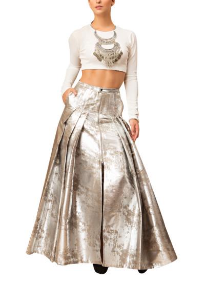 Indian Fashion Designers - Siddartha Tytler - Contemporary Indian Designer - Tribal Neckpeice Detailed Top set - ST-AW16-MS16-TP-005-SKRT-004