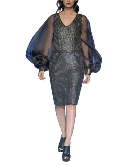 Indian Fashion Designers - Siddartha Tytler - Contemporary Indian Designer - Mixed Media Metal Dress - ST-AW17-DRS-002