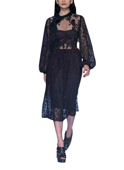 Indian Fashion Designers - Siddartha Tytler - Contemporary Indian Designer - Black Patchwork Dress - ST-AW17-DRS-010