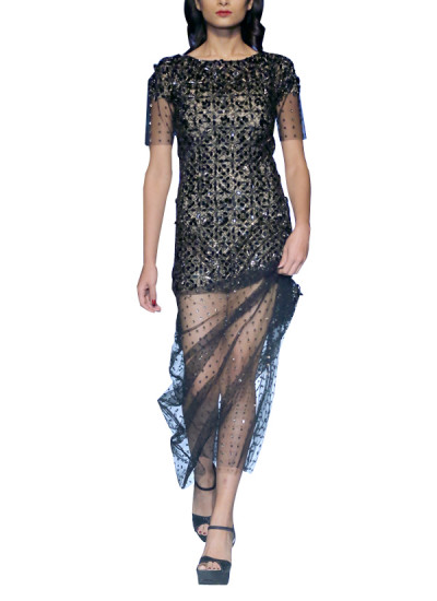 Indian Fashion Designers - Siddartha Tytler - Contemporary Indian Designer - 3D Metal Sequin Gown - ST-AW17-GWN-004