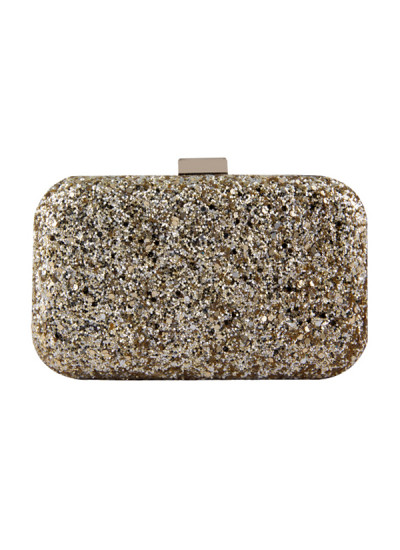 Indian Fashion Designers - The Purple Sack - Contemporary Indian Designer - Golden Glittered Clutch - TPS-AW16-TPSS04