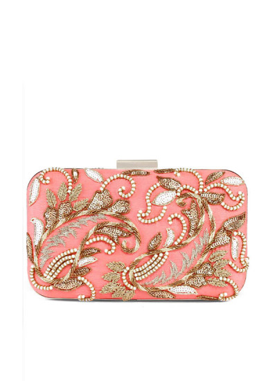 Indian Fashion Designers - The Purple Sack - Contemporary Indian Designer - Coral Double Paisley Box Clutch - TPS-SS17-TLQ09