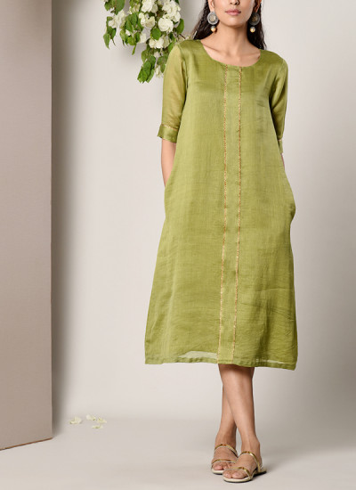 Indian Fashion Designers - True Browns - Contemporary Indian Designer - Green Center Panel Dress - TBS-SS17-TB1266