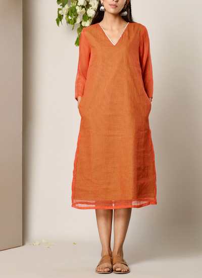 Indian Fashion Designers - True Browns - Contemporary Indian Designer - Orange Kaftan Dress - TBS-SS17-TB1267