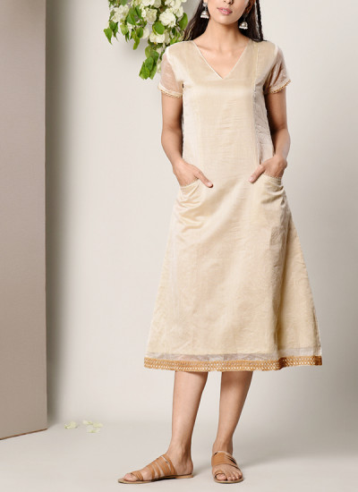 Indian Fashion Designers - True Browns - Contemporary Indian Designer - Ivory Jute Pocket-Sleeve-Hem Dress - TBS-SS17-TB1269