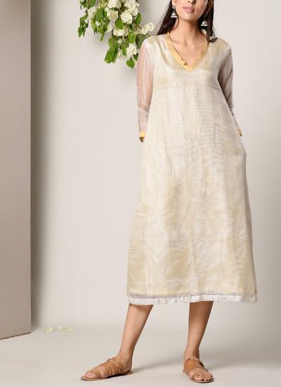 Indian Fashion Designers - True Browns - Contemporary Indian Designer - Ivory Kota Silk Dress - TBS-SS17-TB1271