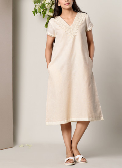 Indian Fashion Designers - True Browns - Contemporary Indian Designer - Ivory Crochet Neck Dress - TBS-SS17-TB1272