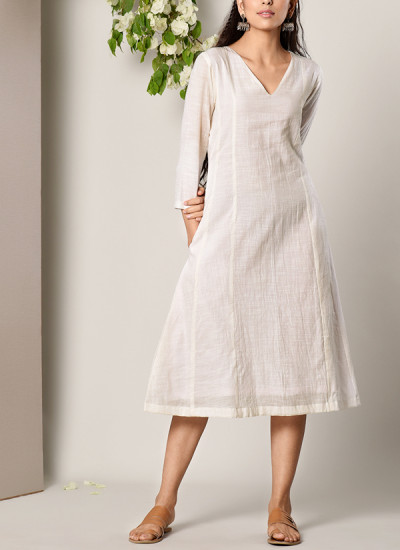 Indian Fashion Designers - True Browns - Contemporary Indian Designer - White Panelled Dress - TBS-SS17-TB1275