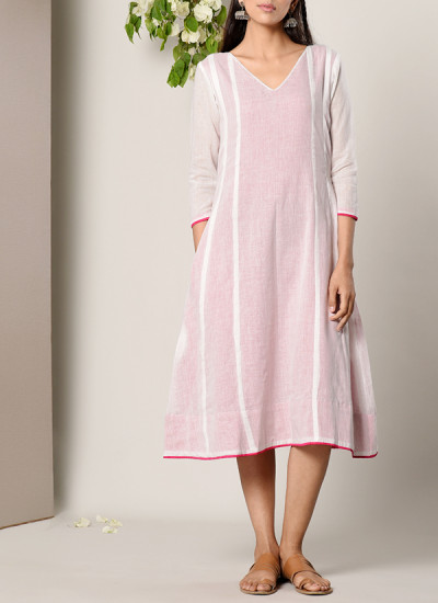 Indian Fashion Designers - True Browns - Contemporary Indian Designer - White Pink Highlight Dress - TBS-SS17-TB1276