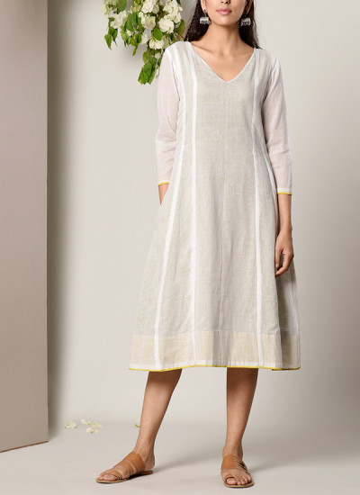 Indian Fashion Designers - True Browns - Contemporary Indian Designer - White Green Highlight Dress - TBS-SS17-TB1277