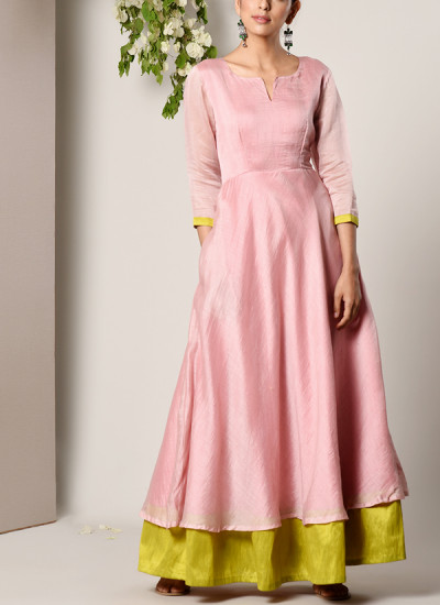 Indian Fashion Designers - True Browns - Contemporary Indian Designer - Mud Pink Green Border Suit Dress - TBS-SS17-TB1323