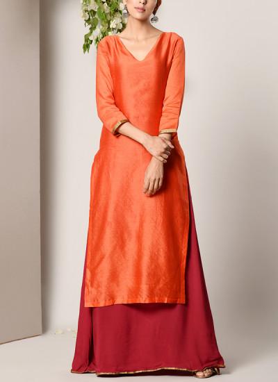 Indian Fashion Designers - True Browns - Contemporary Indian Designer - Orange Kurta Maroon Flare Dress - TBS-SS17-TB1332
