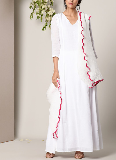 Indian Fashion Designers - True Browns - Contemporary Indian Designer - White Dress Crinkle Pink Lace Dupatta Set - TBS-SS17-TB1351