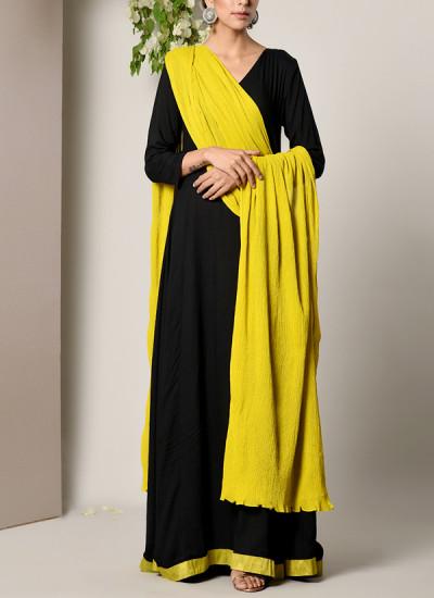 Indian Fashion Designers - True Browns - Contemporary Indian Designer - Black Green Border Dress Green Crinkle Dupatta Set - TBS-SS17-TB1371