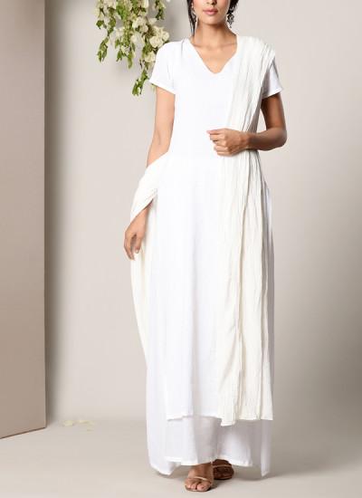 Indian Fashion Designers - True Browns - Contemporary Indian Designer - White Dabka Suit Dress White Silver Crinkle Dupatta Set - TBS-SS17-TB1391