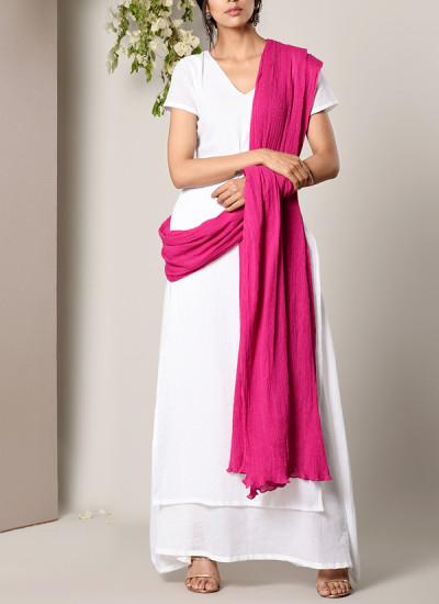 Indian Fashion Designers - True Browns - Contemporary Indian Designer - White Dabka Suit Dress Pink Crinkle Dupatta Set - TBS-SS17-TB1392