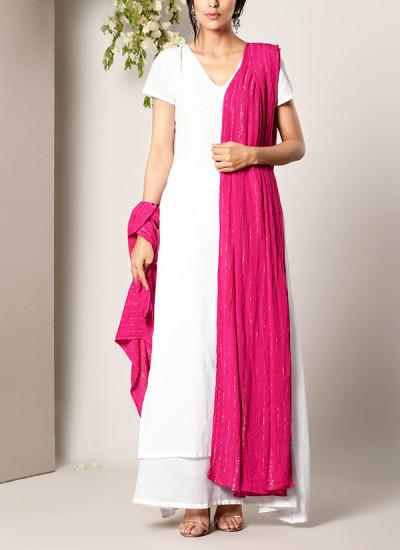 Indian Fashion Designers - True Browns - Contemporary Indian Designer - White Dabka Suit Dress Pink Silver Crinkle Dupatta Set - TBS-SS17-TB1393