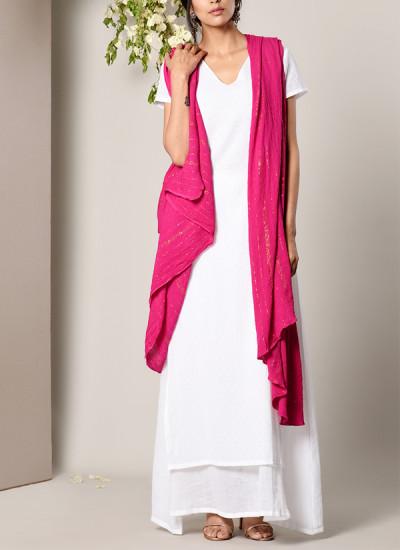 Indian Fashion Designers - True Browns - Contemporary Indian Designer - White Dabka Suit Dress Pink Golden Crinkle Dupatta Set - TBS-SS17-TB1394