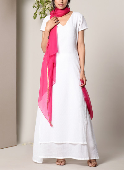 Indian Fashion Designers - True Browns - Contemporary Indian Designer - White Dabka Suit Dress Pink Chiffon Dupatta Set - TBS-SS17-TB1395