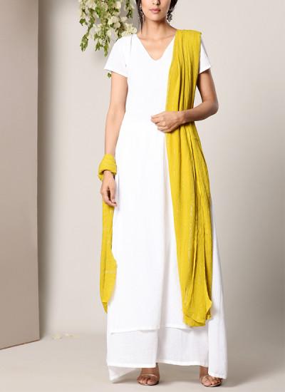 Indian Fashion Designers - True Browns - Contemporary Indian Designer - White Dabka Suit Dress Green Silver Crinkle Dupatta Set - TBS-SS17-TB1397