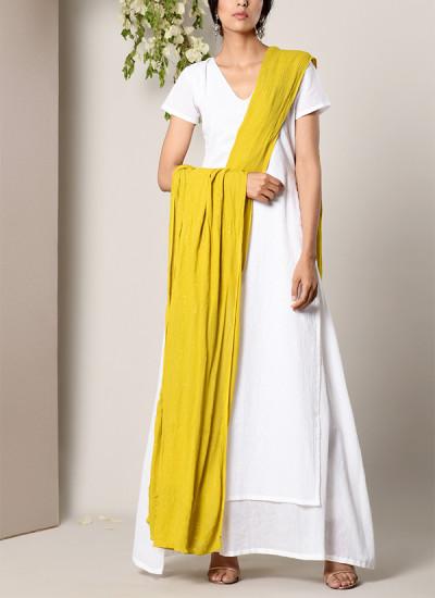 Indian Fashion Designers - True Browns - Contemporary Indian Designer - White Dabka Suit Dress Green Golden Crinkle Dupatta Set - TBS-SS17-TB1398