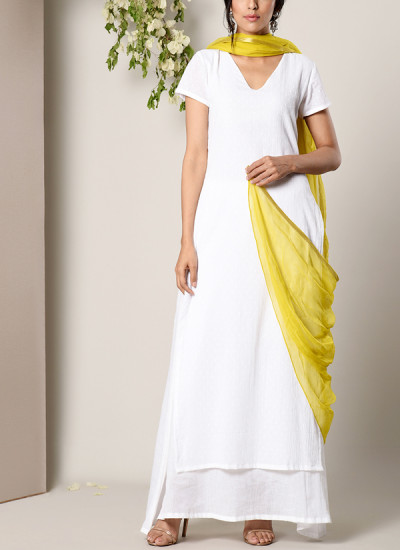 Indian Fashion Designers - True Browns - Contemporary Indian Designer - White Dabka Suit Dress Green Chiffon Dupatta Set - TBS-SS17-TB1399