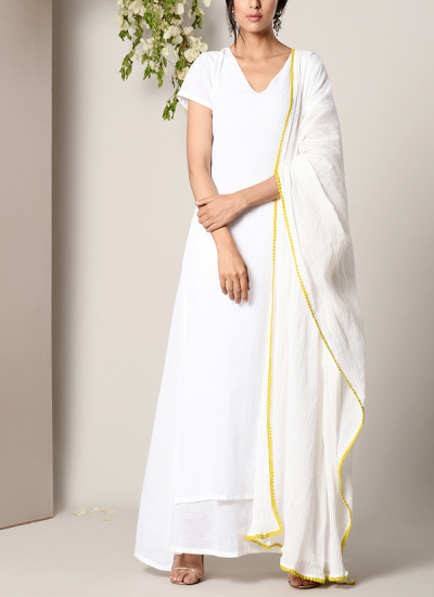 Indian Fashion Designers - True Browns - Contemporary Indian Designer - White Dabka Suit Dress Crinkle Green Lace Dupatta Set - TBS-SS17-TB1405