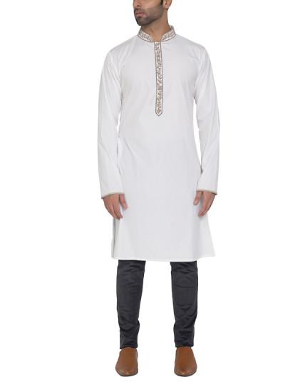 Indian Fashion Designers - WYCI - Contemporary Indian Designer - Elegant Whita Kurta - WYCI-SS16-S6KEc018