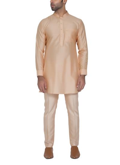 Indian Fashion Designers - WYCI - Contemporary Indian Designer - Light Peach Kurta - WYCI-SS16-S6KSs73