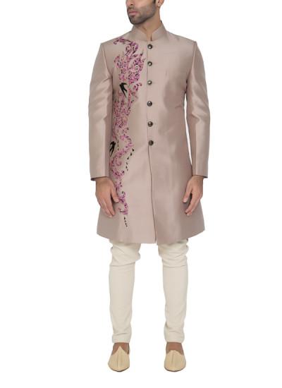 Indian Fashion Designers - WYCI - Contemporary Indian Designer - Elegant Light Grey Sherwani - WYCI-SS16-S6SDs1FDA10