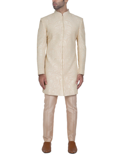 Indian Fashion Designers - WYCI - Contemporary Indian Designer - Cream Embroidered Sherwani - WYCI-SS16-S6SRs001