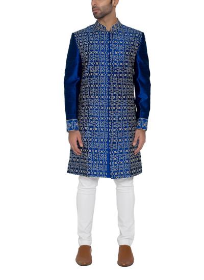 Indian Fashion Designers - WYCI - Contemporary Indian Designer - Blue Embroidered Sherwani - WYCI-SS16-S6SRs38Fc