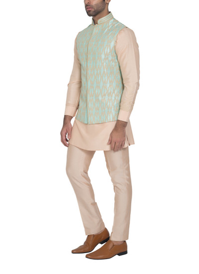 Indian Fashion Designers - WYCI - Contemporary Indian Designer - Mint Green Waistcoat - WYCI-SS16-S6WCRs56