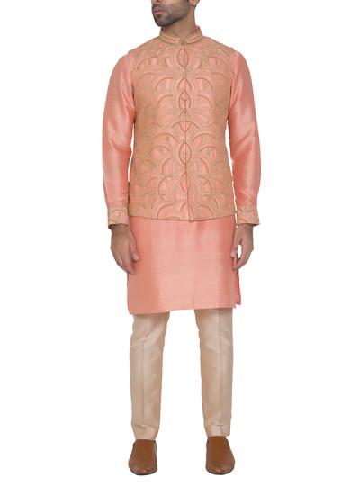 Indian Fashion Designers - WYCI - Contemporary Indian Designer - Deep Peach Waistcoat - WYCI-SS16-S6WDs001