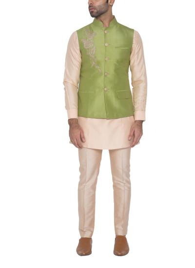 Indian Fashion Designers - WYCI - Contemporary Indian Designer - Green Dori Waistcoat - WYCI-SS16-S6WcDs34D6