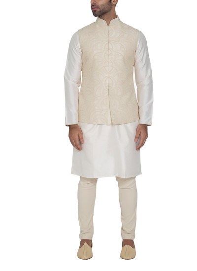Indian Fashion Designers - WYCI - Contemporary Indian Designer - Luxurious Off-white Waistcoat - WYCI-SS16-S6WcRs23