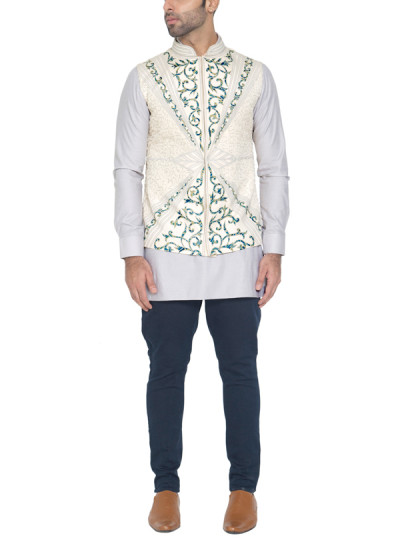 Indian Fashion Designers - WYCI - Contemporary Indian Designer - Light Cream Waistcoat - WYCI-SS16-W5WcD11D2