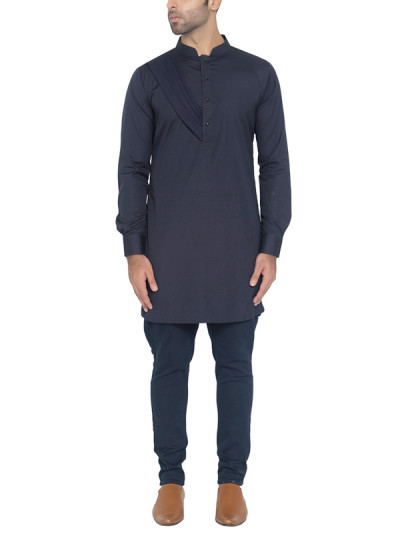 Indian Fashion Designers - WYCI - Contemporary Indian Designer - Navy Shoulder Drape Kurta - WYCI-SS16-W6KEc125Dr