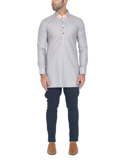 Indian Fashion Designers - WYCI - Contemporary Indian Designer - Light Grey Formal Kurta - WYCI-SS16-W6KEc168T