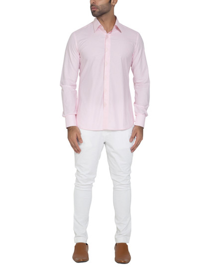 Indian Fashion Designers - WYCI - Contemporary Indian Designer - Pink Appliqued Placket Shirt - WYCI-SS16-W6StEc161Hx